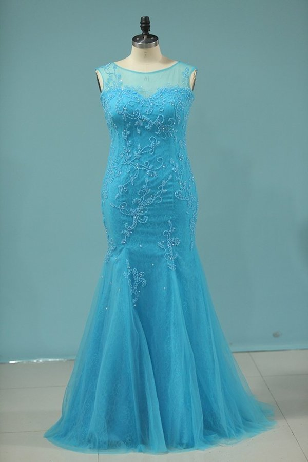 2020 Scoop Mermaid Prom Dresses With Beads Lace And P3XTQ8Q2