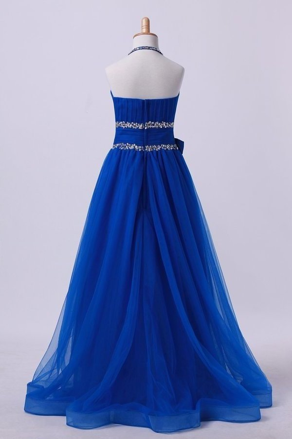 Dark Royal Blue Halter A Line High Low Flower Girl Dresses Beaded PA9QX5CF