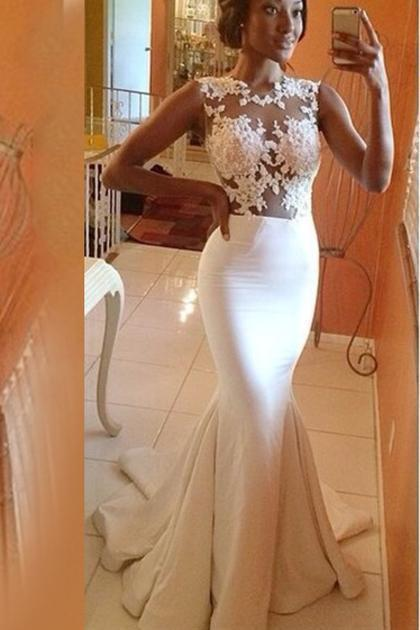 Lace Mermaid White Long Elegant Cap Sleeve Appliques High Neck Prom Dresses