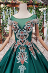 Simple Green Satin Short Sleeve Ball Gown Lace up with Applique Beads Prom Dresses