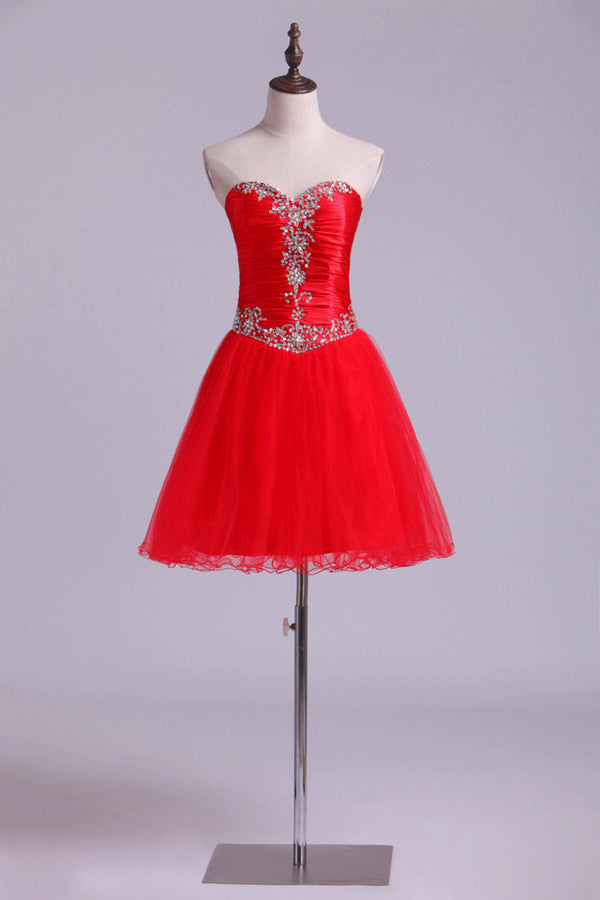 2020 Homecoming Dresses A Line Sweetheart Beading Short/Mini PDRSDJBS