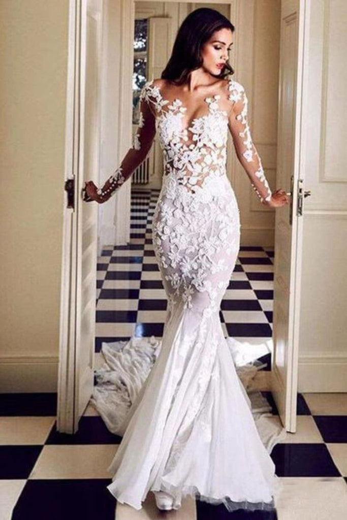 Long Sleeve See Through Mermaid Tulle Wedding Dresses Appliques Bridal STHPJAP4FDS