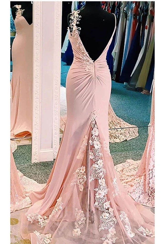 Mermaid V Neck Spaghetti Straps Long Prom Dresses Appliques Party Dress Chiffon And STHPFT7D7JQ