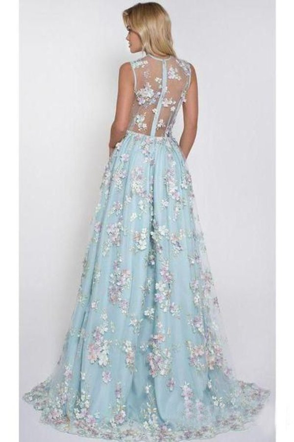 2020 Sky Blue Prom Dresses See Through Embroidery Formal PCJCN467
