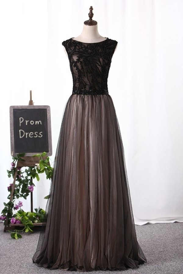2020 Scoop Prom Dresses A Line Tulle With PSSGKT8Y