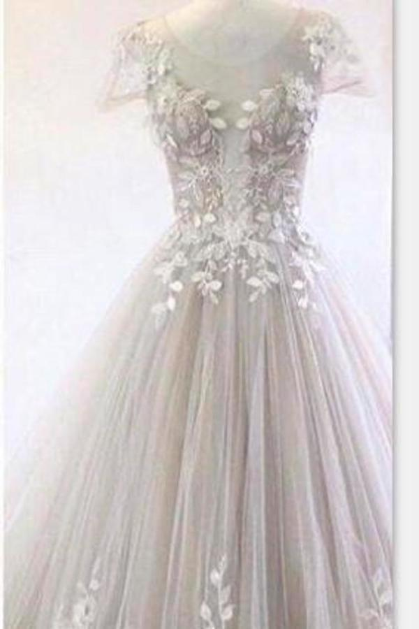 Gorgeous Wedding Dresses Scoop Neck A-Line Tulle With PY4BGTAF