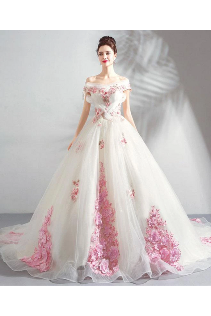 Unique Off The Shoulder Tulle Wedding Dress With Pink Flowers Ball Gown Wedding STHPQ4NB2CL