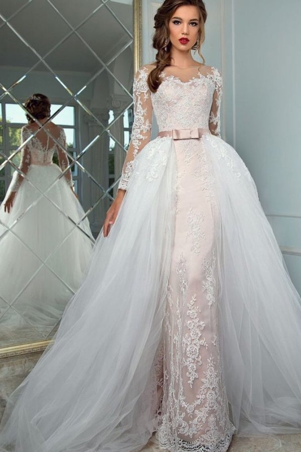 2020 Scoop Long Sleeves Sheath Wedding Dresses Tulle With Applique PAQPBALA
