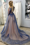 A-Line Long Sleeves Sweep Train Prom Dresses With STHPB3SD2T7
