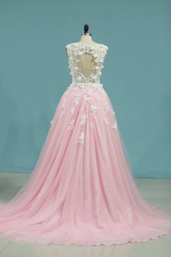 2020 Tulle Scoop Open Back With Applique And Sash Cathedral PKS68Q3X