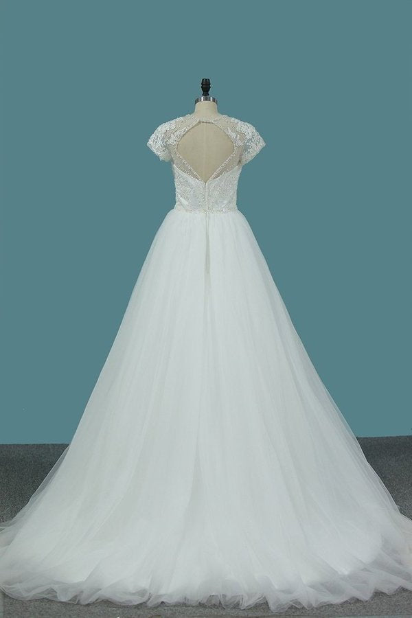 2020 Tulle A Line Scoop Short Sleeve Wedding Dresses With Applique And P43RSC6Z