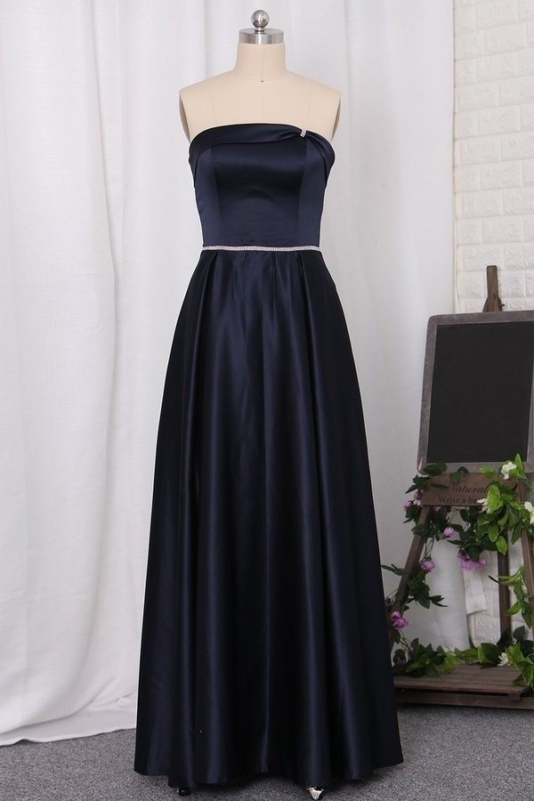 2020 Strapless A Line Bridesmaid Dresses Satin With PGCYSCZQ