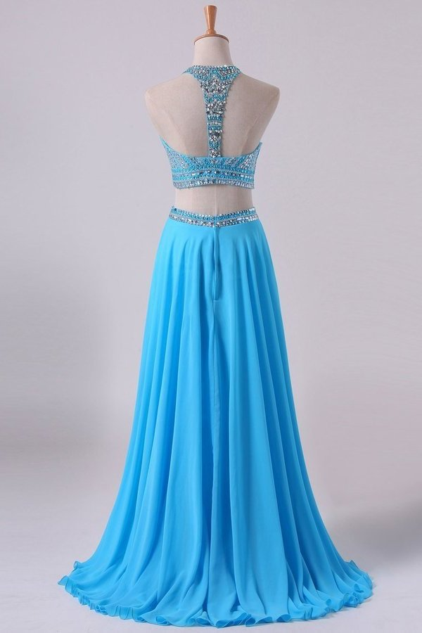 2020 Two-Piece A Line Prom Dresses Beaded Bodice Open Back Chiffon PTDR46S4