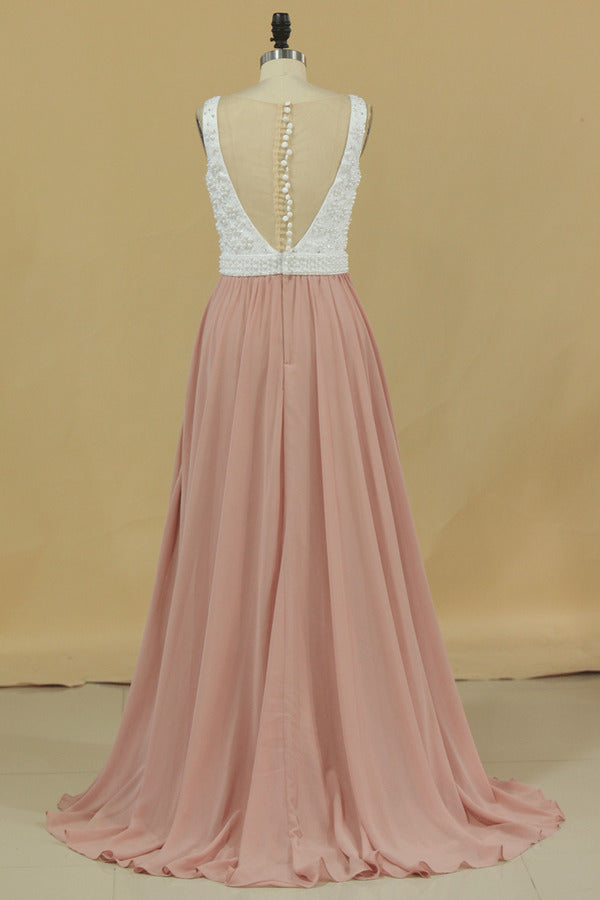 2020 Scoop Prom Dresses A Line Chiffon With Beading PGA44B11