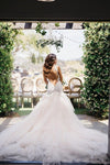 Mermaid Boat Neck Chapel Train Ivory Tulle Sleeveless Wedding Dress with Appliques Ruffles