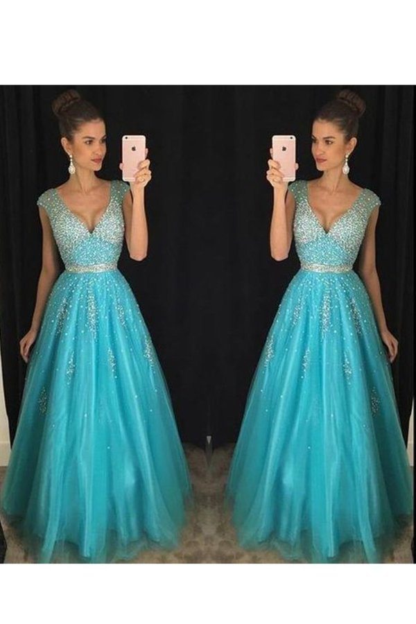 A Line V Neck With Beading Prom Dresses Floor PYRDA1AA