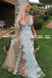 2020 V Neck Prom Dresses A Line Tulle With Applique PXTDH8ZK