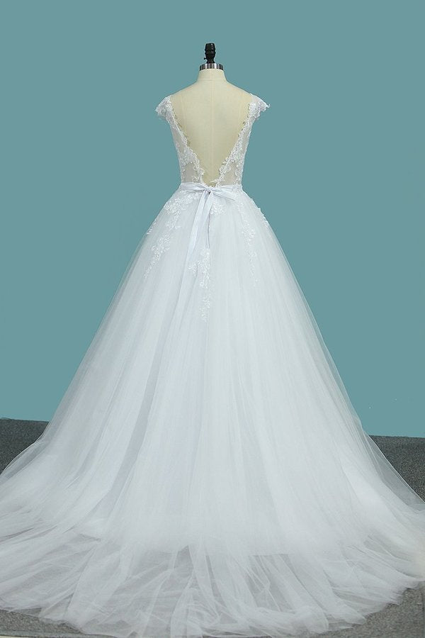 2020 Scoop Open Back Wedding Dresses Tulle With Applique PS8864DD