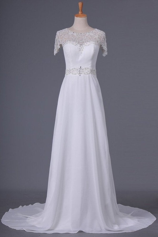 2020 Scoop Wedding Dresses Sheath With Beading Chiffon PAACNYFN