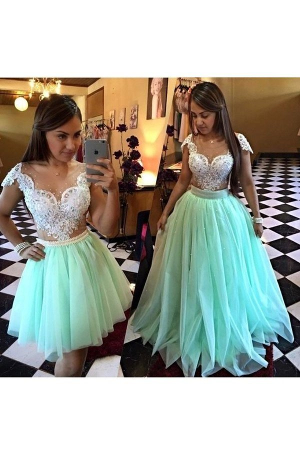 2020 Scoop Prom Dresses A Line Tulle With Applique And Beads P1Y9YR78