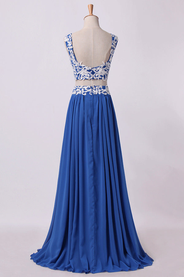 2020 Two Pieces A Line Prom Dresses Chiffon Floor Length PQYCA377