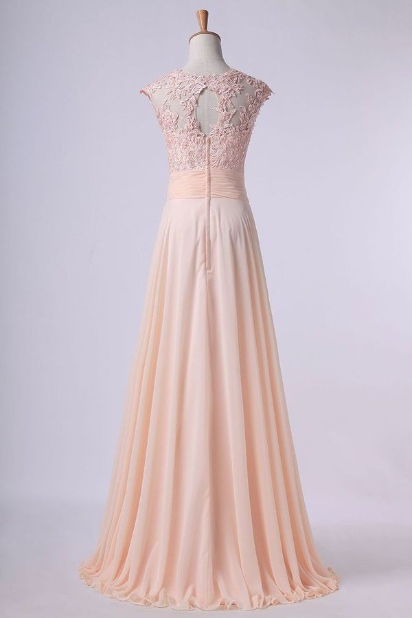 2020 Scoop Prom Dresses A Line Chiffon With Applique And Ruffles P57HFSL5
