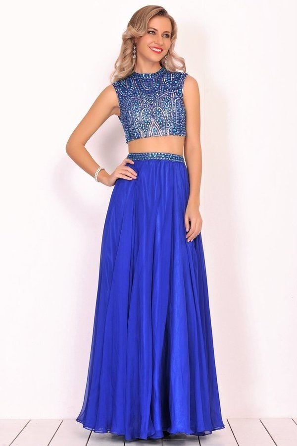 2020 Two-Piece High Neck Beaded Bodice A Line Chiffon PDYHYN5K