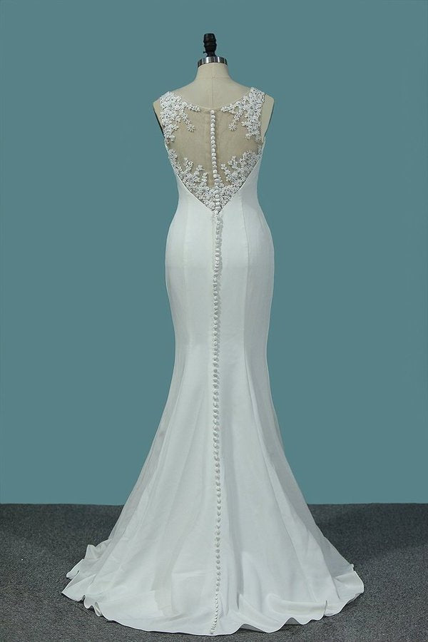 2020 Scoop Spandex Mermaid Wedding Dresses With Applique And PKCZL57C