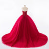New Style Red Tulle Lace up Sweetheart Strapless Beads Ball Gown Prom Quinceanera Dress