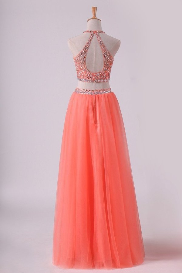 2020 Two-Piece Halter A Line Prom Dresses Beaded Bodice Tulle PBZ54TY4