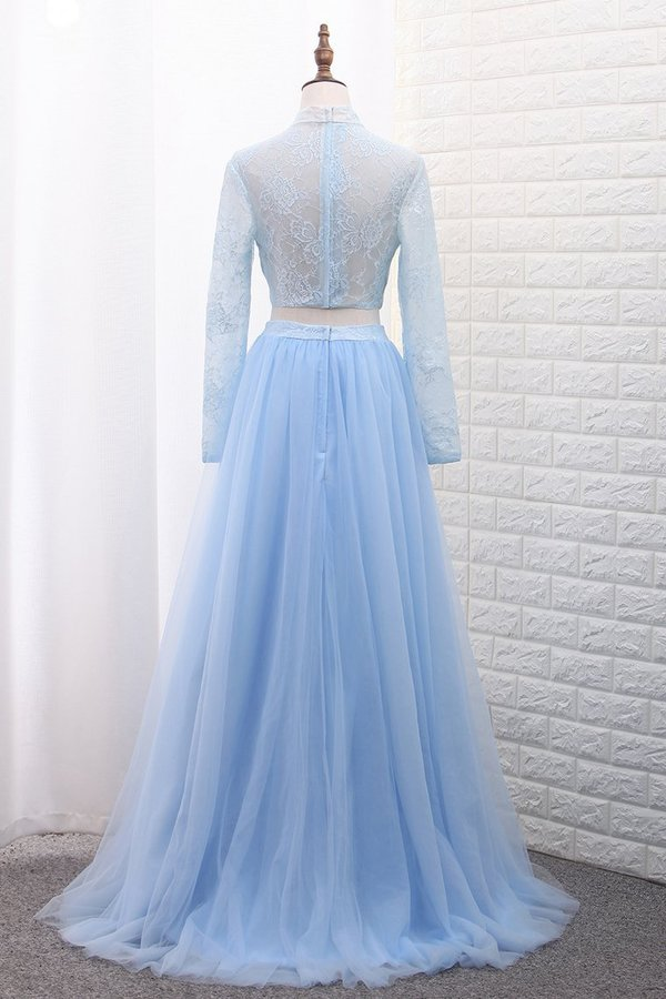 2020 Two-Piece High Neck Evening Dresses Tulle & Lace With Slit PQA8QDAH