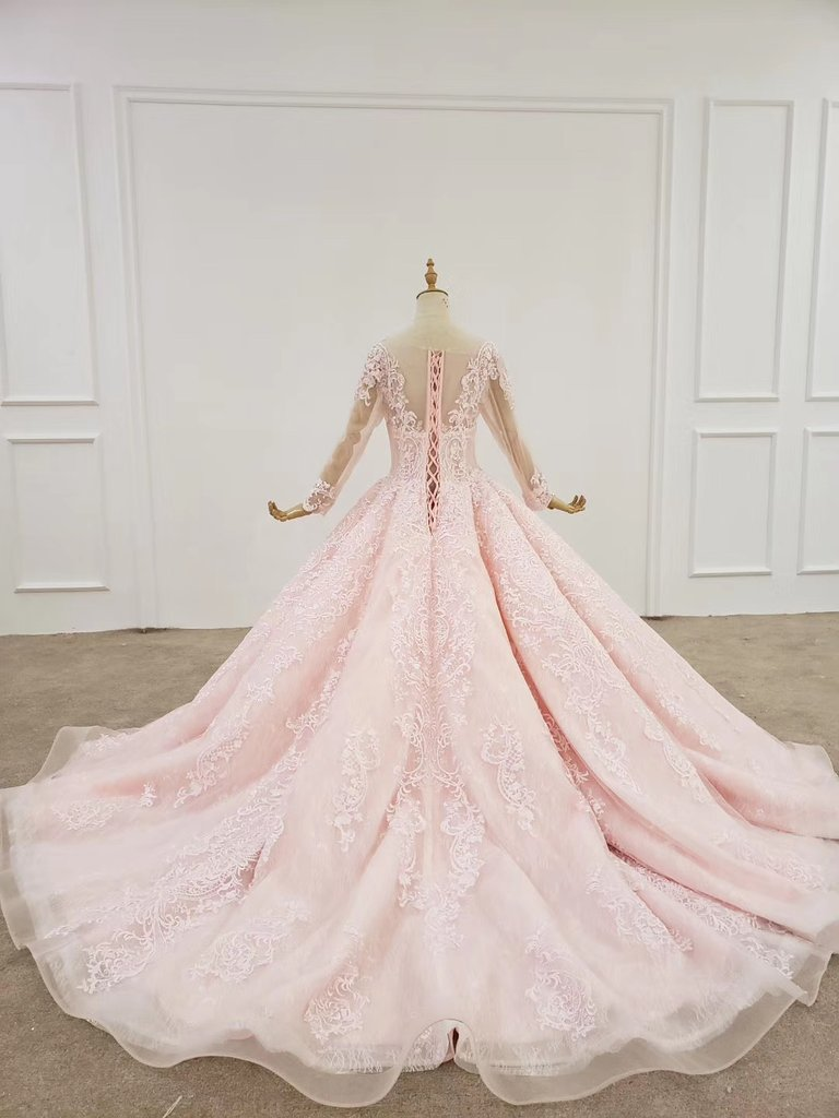 Elegant Ball Gown Pink Long Sleeves Appliques Prom Dresses, Quinceanera STH20481