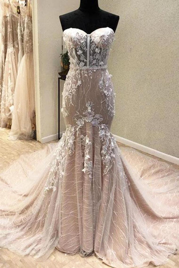 Gorgeous Sweetheart Mermaid Lace Appliqued Wedding Dresses Strapless Bridal STHPJ18HD74