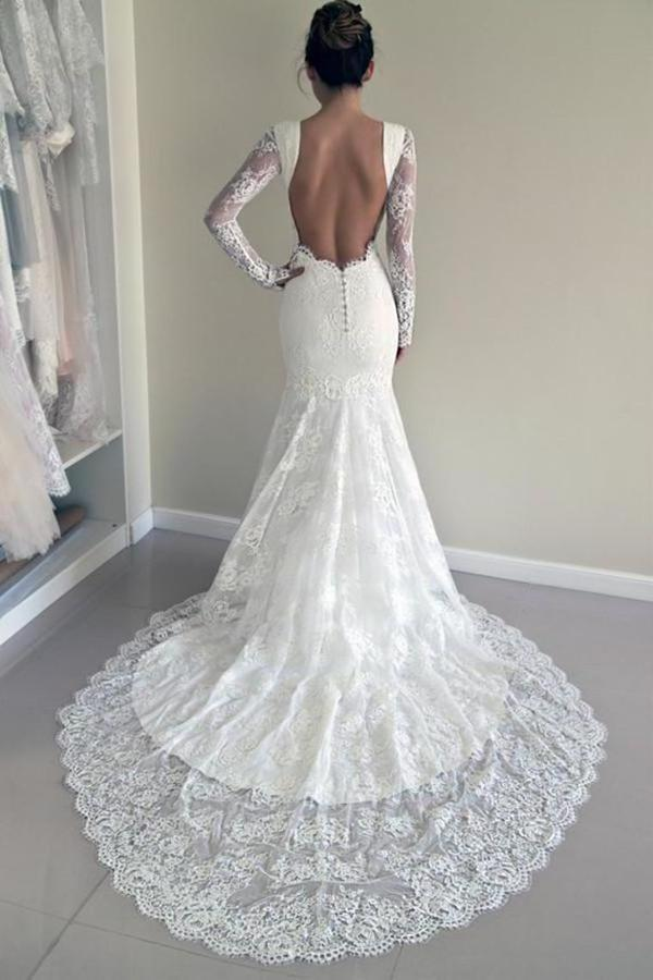 2020 Sexy Open Back Long Sleeves Scoop Wedding Dresses Mermaid P41FFAAL