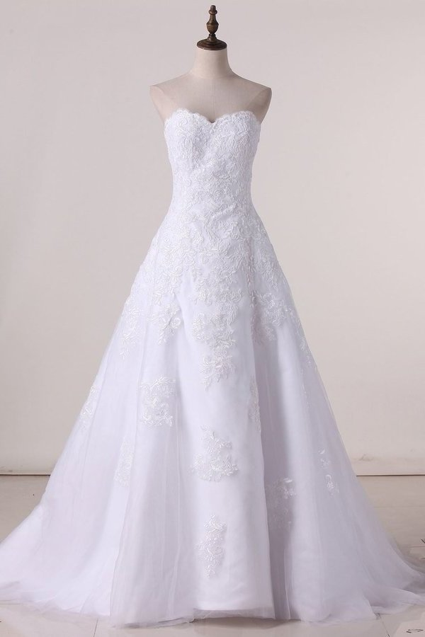 2020 Strapless Wedding Dresses A Line Tulle With P4SAE4NB