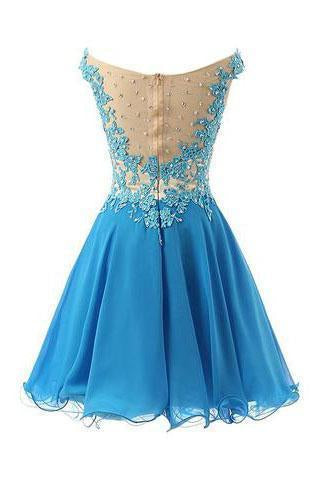 Pretty Straps Lace Party Dresses Bodice Party Dresses Short Applique Prom Dresses