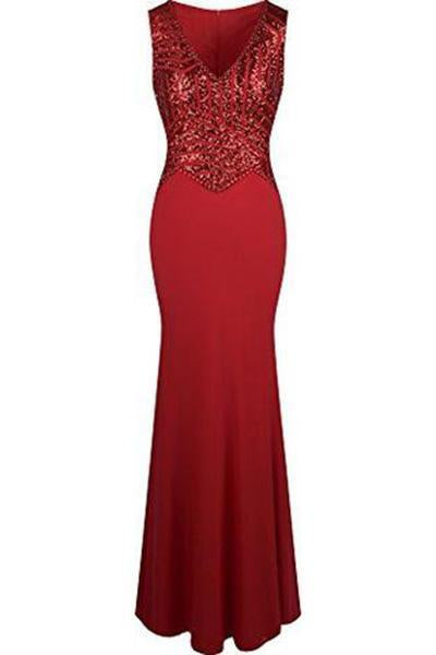 V Neck Sequin Beading Mermaid Sheath Long Prom Dresses