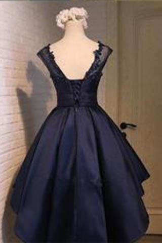 Navy blue Satin Classy Sexy Party Dress Charming Graduation Dress Homecoming Dresses