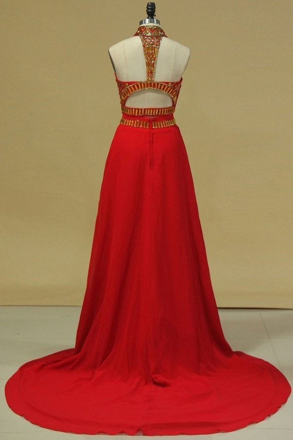 2020 Two-Piece High Neck With Beading Chiffon PXFTA5NM