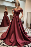 A Line Off The Shoulder Satin Prom Dress Cheap Simple Long Evening STHP8SB1QJC