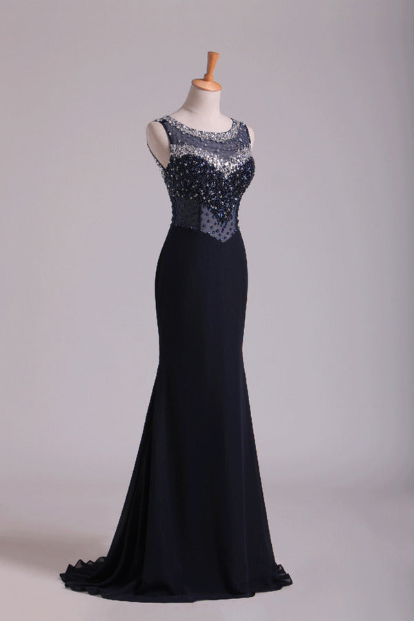 2020 Scoop Open Back Beaded Bodice Floor Length Chiffon Prom P2Q69TNY