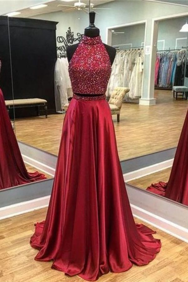 2020 Two Pieces Satin Prom Dresses With Beaded Bodice P53ANNFN