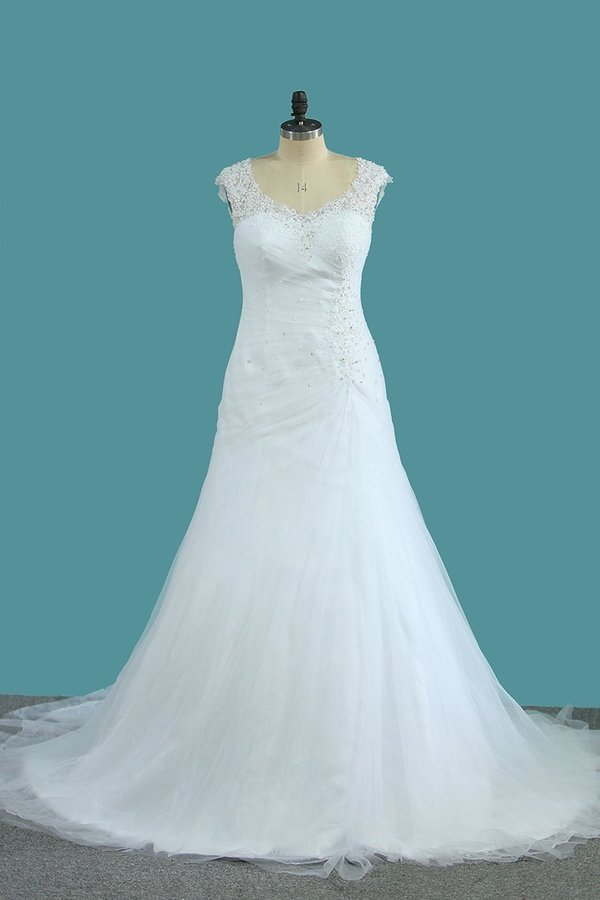 2020 V Neck Tulle A Line Wedding Dresses With Applique PJ98PAQL