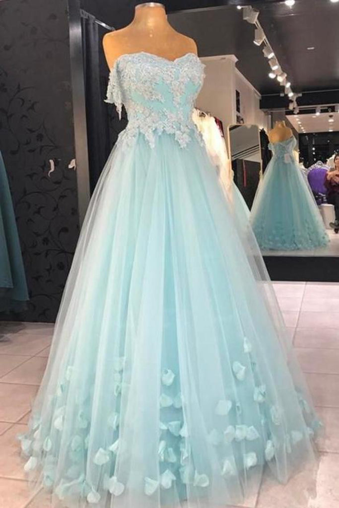 Cheap A Line Strapless Floor Length Tulle Prom Dress With Flowers Appliqued Formal STHPS5H8PGM