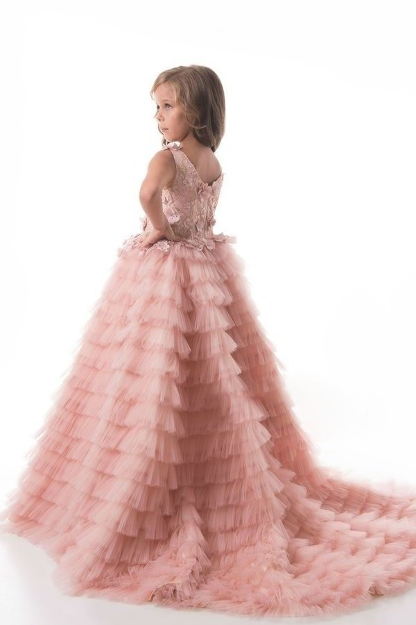 2020 Scoop Flower Girl Dresses A Line Tulle With Handmade P3J4LSAH
