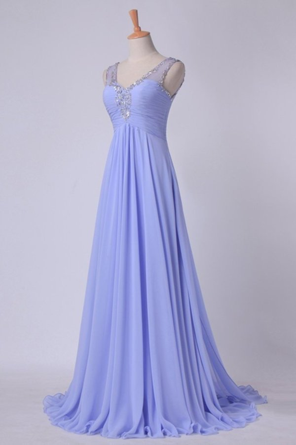 2020 V Neckline And Deep V Back Chiffon Long A Line Prom Dress With Beaded PZ3BCET3