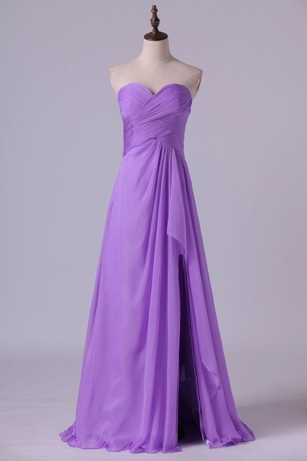 2020 Sweetheart Neckline Chic Dress Pleated Bodice A Line Chiffon P8ZNE9JZ