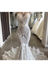 Luxury Lace Mermaid Wedding Dress With Train Sexy Open Back Pearls Wedding STHPE5AS8YA
