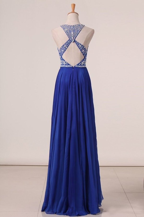 2020 Sexy Open Back Prom Dresses Scoop With Beading PSNS4G59