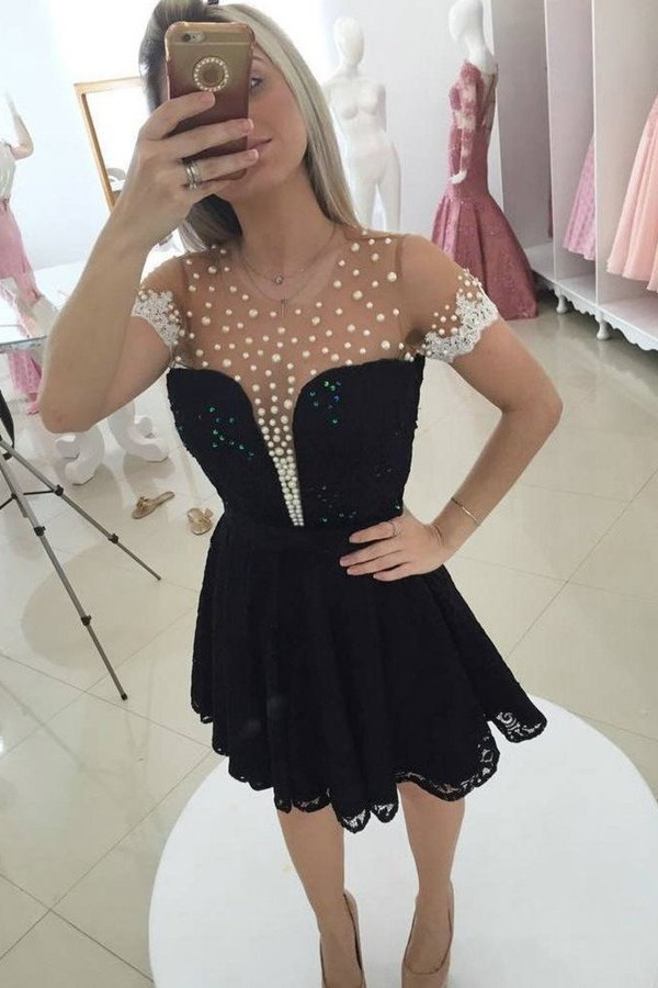 A Line Scoop Short Sleeves Lace With Applique And Beads PAGS7YHH